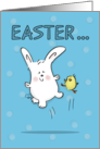 Hopping Bunny and Chick- Happy Easter-Hoppy Time card