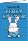Customized First Easter for Grandson- Bunny Rabbit in Blue Diaper card