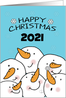 Customizable Year Happy Christmas 2017 -Group of Snowman Friends card