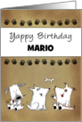 Customizable Name Happy Birthay for Mario- Yappy Dog Trio card