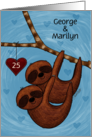 Customizable Names, 25th Anniversary, George, Marilyn, Sloth Couple card