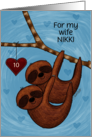 Customizable Name,10th Anniversary, for Wife Nikki, Sloth Couple card