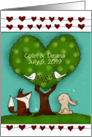 Customizable Congrats on Marriage, Fox, Bunny at Green Heart Tree card