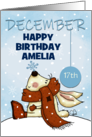 Customizable Happy December 17th Birthday, Bunny and Snowflake card