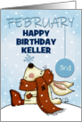 Customizable Happy February 3rd Birthday Keller, Bunny and Snowflake card