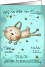 Customizable Easter Invitation, Bunny Hop, Rabbit, Daisies and Bees card