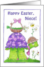 Happy Easter for Niece-Turtle with Basket of Flowers card