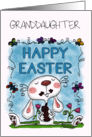 Customizable Happy Easter for Granddaughter-Bunny Eats Chocolate Bunny card