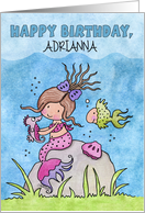Personalized Name Happy Birthday-Mermaid and Underwater Friends card