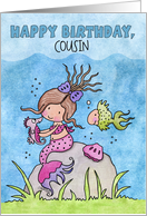 Customizable Birthday for Cousin-Mermaid & Friends card