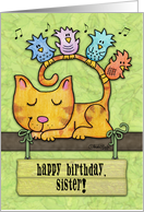 Customizable Birthday for Sister-Kitty and Birds in Tree with Sign card