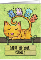 Customizable Birthday for Cousin-Kitty and Birds in Tree with Sign card