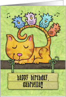 Personalized Birthday for Any Name -Kitty and Birds in Tree with Sign card