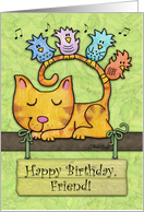 Customizable Birthday for friend -Kitty and Birds in Tree with Sign card