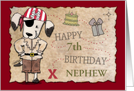 Customized Birthday for 7 year old Nephew-Pirate Dog and Map card