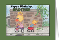 Happy Birthday for Brother -Boy and Girl Ducks card