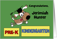 Personalized Congratulations on Graduating Pre-K-Dog with Cap card