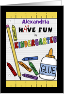 Personalized Back to School for Kindergarten-School Supplies card