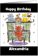 Customizable Name Happy Birthday- Cats and Piano card