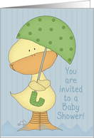 Baby Shower Invitation- Yellow Ducky with Umbrella card