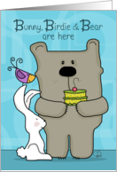 Happy Birthday for Big Brother- Bunny, Birdie and Bear with Cake card