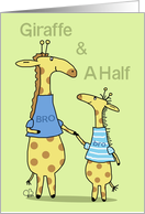 Happy Birthday Little Brother-Two Whimsical Giraffes Hold Hands card