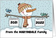 Snowman w/ Signs-Customizable Date New Year's 2017 -from Family Name card