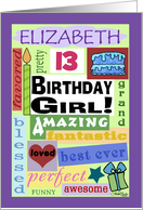 Happy Birthday Name and Age Specific Elizabeth 13-Good Word Subway Art card