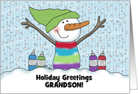 Snowman Snow Cone - Customizable Name Merry Christmas for Grandson card