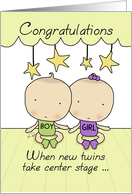 Whimsical Twin Boy & Girl - Congratulations on BabyTwins -Center Stage card