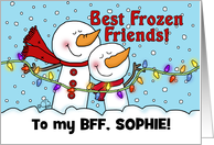 Best Frozen Friends (BFF) Snowmen-Merry Christmas to Best Friend card