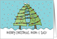 Lighted Christmas Trees-Customizable Merry Christmas for Parents card
