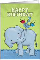 Happy Second Birthday - Elephant Spraying Birds card