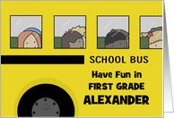 Customizable Name Back to School for 1st Grader- School Bus with Kids card