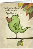 Happy Earth Day-Bird and Ladybug on a Limb-We're in this Together card