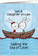 Customized Happy Anniversary Son& Daughter in Law-Bunnies Sea of Love card