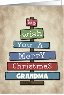 Customizable Merry Christmas for Grandma- Plank Tree card
