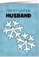 Customizable Merry Christmas for Husband- Snowflake Character Couple card