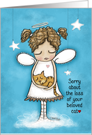 Sorry about the Loss of Your Pet Cat-Angel Holds Kitty card