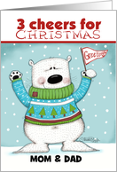 Customized Merry Christmas for Parents-Cheering Polar Bear card