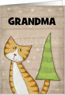 Customized Merry Christmas for Grandma-Cat with Christmas Tree Tail card