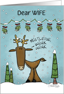 Customized Christmas for Wife- Deer Under Mistletoe Garland card