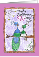 Peacock Anniversary Parents card