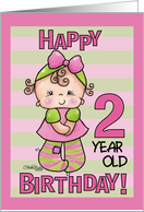 Striped Tights- 2nd Birthday girl card