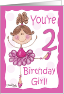 Cute Ballerina 2nd Birthday card