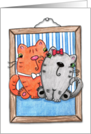 Happy Anniversary-Picture PURRect Couple-Cats in Picture Frame card