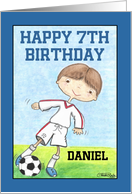 Boy's 7th Birthday- Customizable Name for Daniel-Soccer Player card