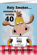40th Birthday BBQ Invitation-Holy Smokes card