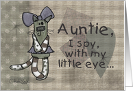 Primitive Kitty- Birthday for Auntie card