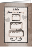 56th Wedding Anniversary-Three Tiered Wedding Cake in Brown card